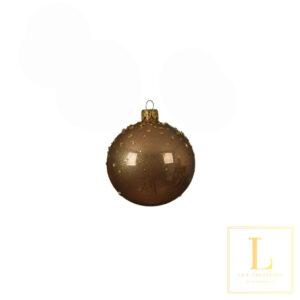 Kerstbal Brons Glas met Stippen