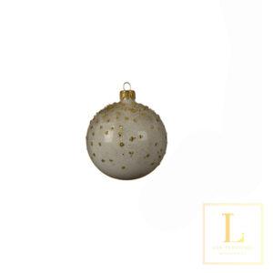 Kerstbal Wit Glas met Stippen