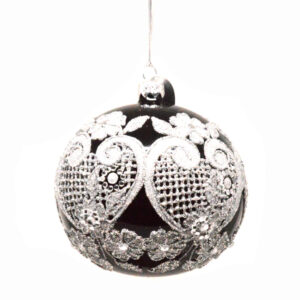 Kerstbal Zilverkant Glas