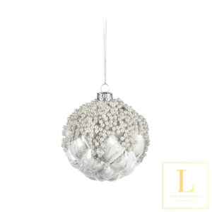 Ornament wit met parels Glas