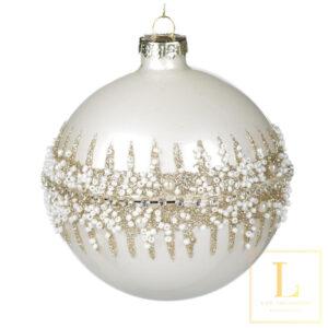 Kerstbal Wit en Glitter Glas