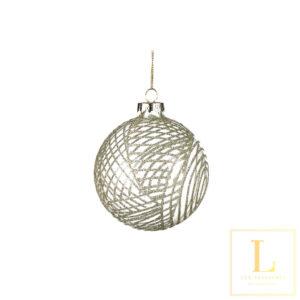 Kerstbal met Gouden Glitters Glas