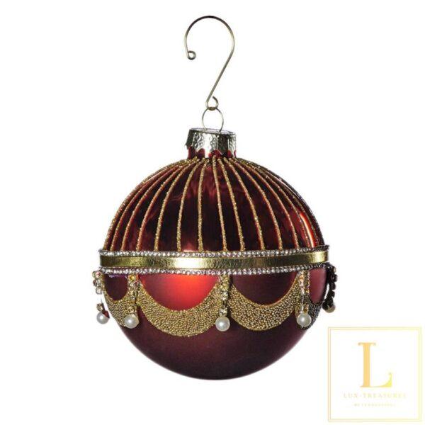kerstbal rood met parel Glas