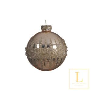 Kerstbal Goud diamant Glas