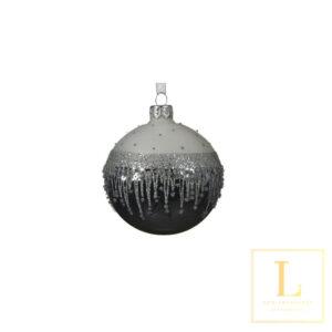 Kerstbal bewerkte rand Glas