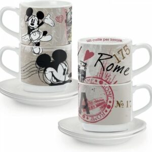 SET 2 STACKABLE ESPRESSO CUPS ROME WITH SAUCERS ITC
