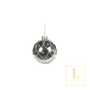 Kerstbal Zilver met Glitter en Parel Glas