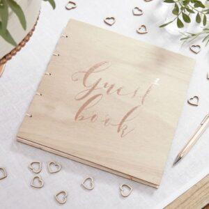 Beautiful Botanics - Guest Book - Wooden - Rose Gold
