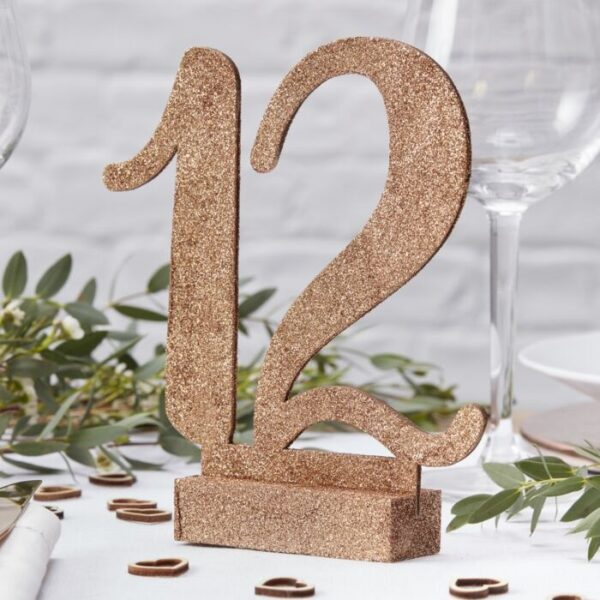 Beautiful Botanics - Table Number - Wooden - Rose Gold Glit 1 to 12