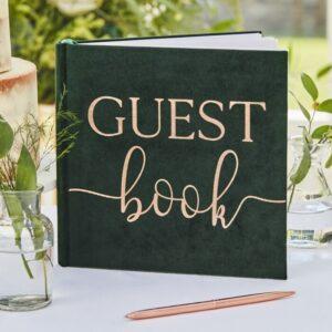 Botanical Wedding - Green Velvet Guest Book