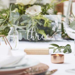 Botanical Wedding -Wood & Acrylic Table Numbers 1 to 12