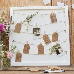 Rustic Country - Guest book - Pegs and String Frame