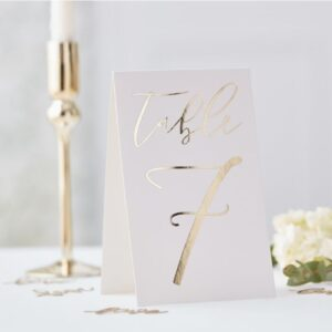 Gold Wedding -Table Card Numbers 1 to 12