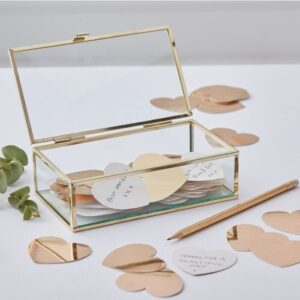 Gold Wedding -Glass Box with Hearts